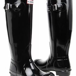Black Glossy Tall Hunter Boots (Gently Worn)